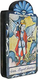 product image for Modern Artisans San Miguel (Archangel Saint Michael) Handmade Retablo Plaque, 3.5 x 7.25 Inches