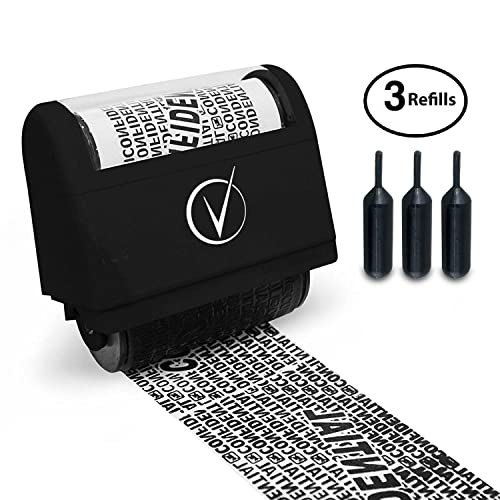 Vantamo Identity Theft Protection Roller Stamp Wide Kit, Including 3-Pack Refills - 2017 Design for Secure Confidential ID Blackout Security, Anti Theft and Privacy Safety - Classy Black
