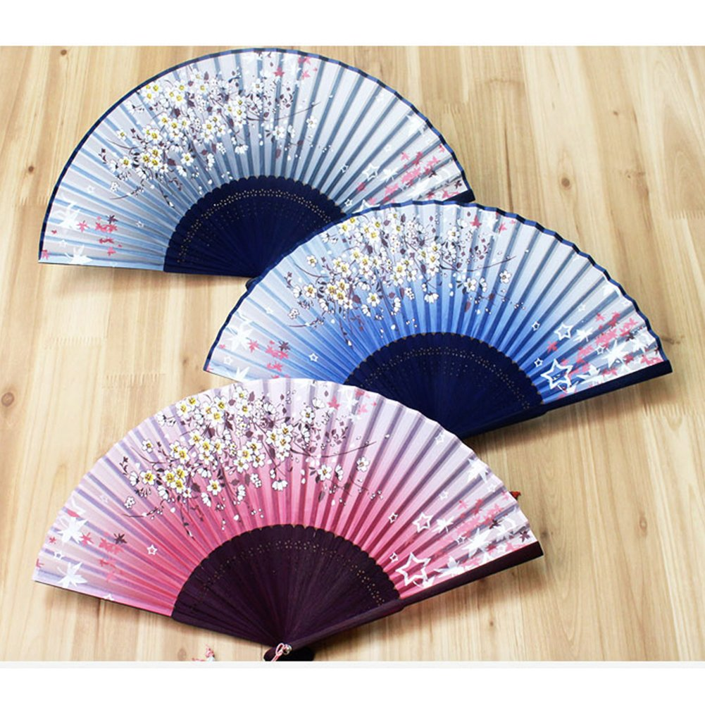 Korean Traditional Star & Flower Silk Hand Fan
