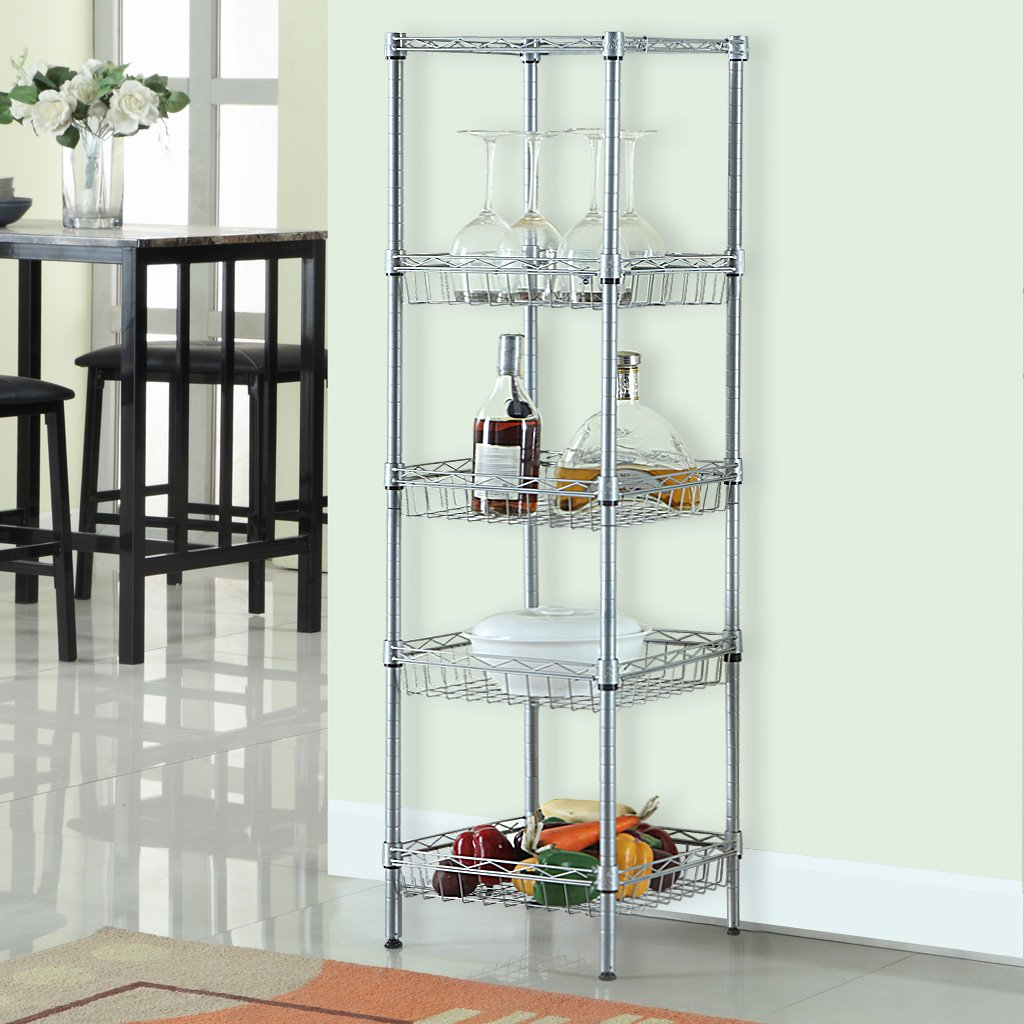 Amazoncom LANGRIA Tier Wire Shelving Square Tower Shelving - Wire shelving for kitchen