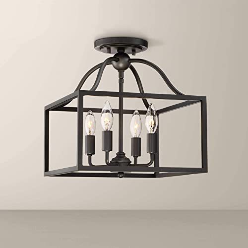 Elle Rustic Ceiling Light Semi Flush Mount Fixture Black 13 Wide 4-Light Open Square Cage for Bedroom Kitchen Living Room Hallway Bathroom – Franklin Iron Works