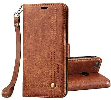 Ferilinso Funda para Xiaomi Mi 8 Lite, Carcasa Cuero Retro Elegante con ID Tarjeta de Crédito Tragamonedas Soporte de Flip Cover Estuche de Cierre ...