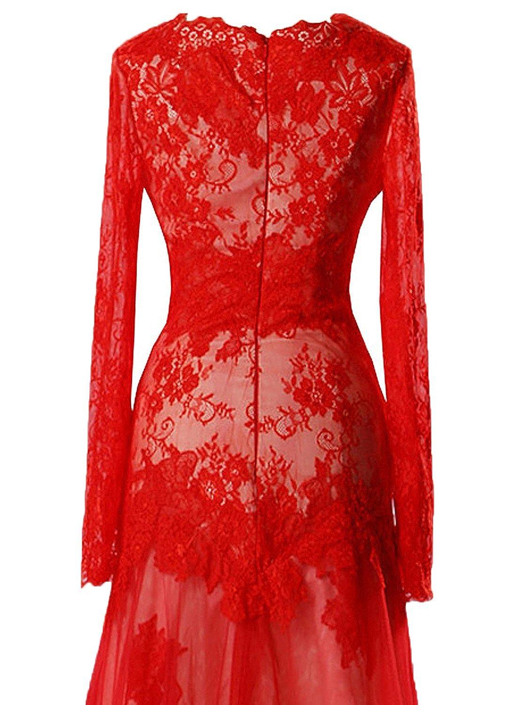 606509ae15b3 Amazon.com: Ruiyuhong Women's Long Red Lace Formal Dress Long Sleeve  Evening Gown LH459: Clothing