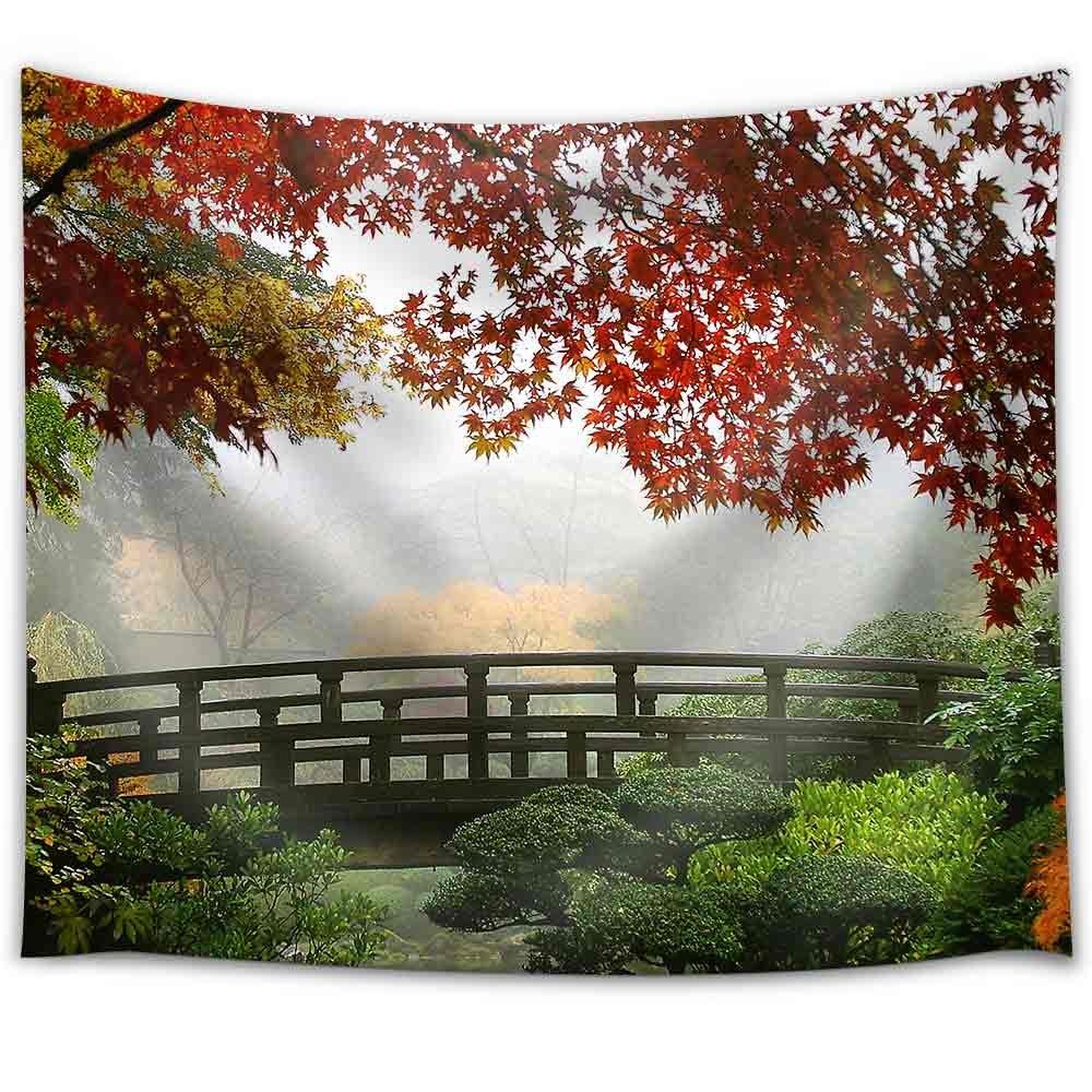 Misty fall morning in portland 39 s japanese gardens fabric - Portland japanese garden free day ...