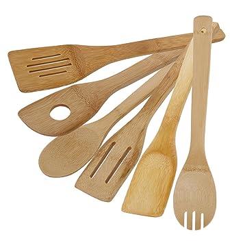 Loriver Küchengeräte Set - 6 Bambus Löffel und Spachtel Kochgeräte ...