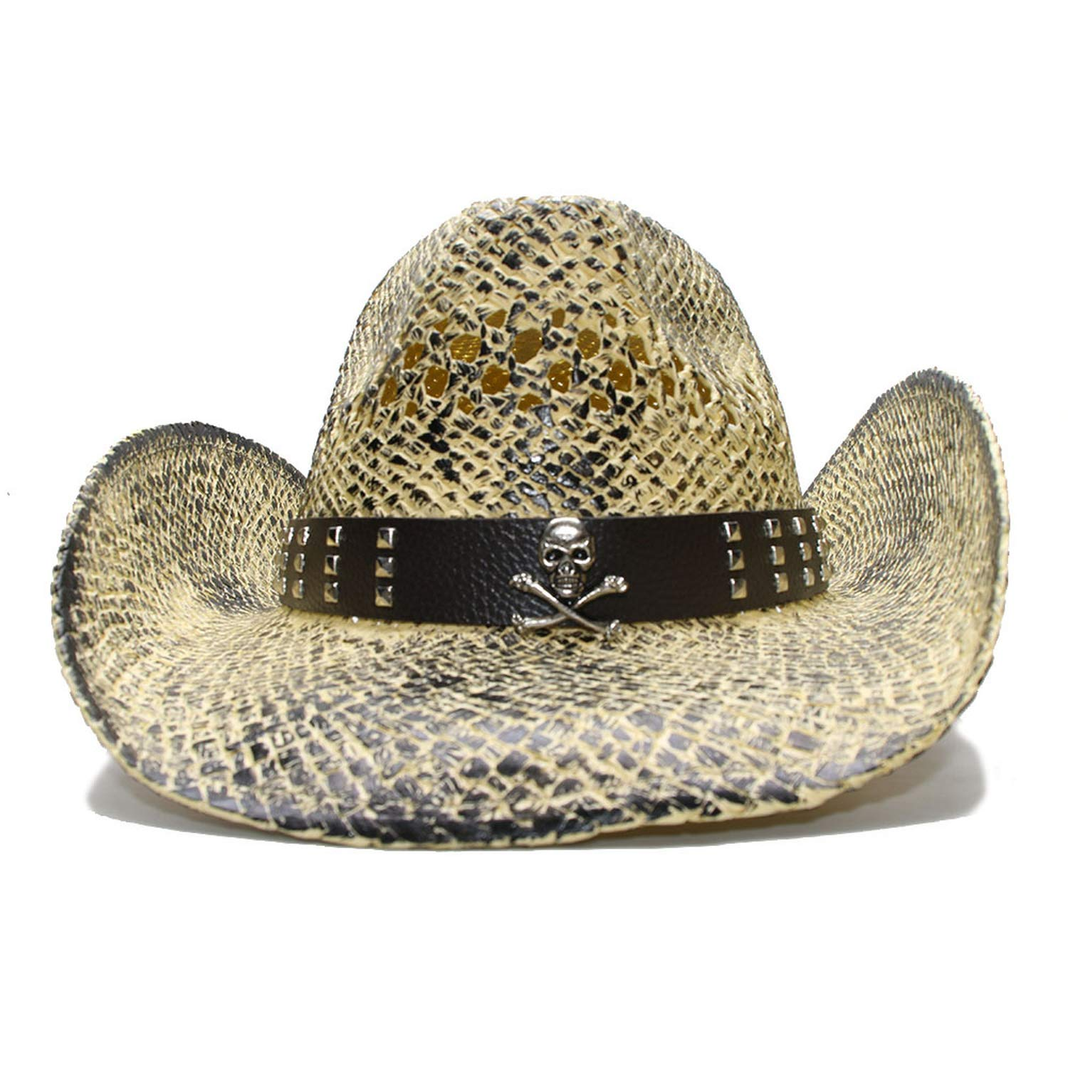 Black Vintage Women Mens Wide Brim Straw Beach Cowboy Cowgirl Western Hat Hollow Out Skull Leather Band