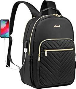 Quilted Laptop Backpack Stylish Laptop Bag for Women Work Computer Bags Bookbag,15.6-Inch, Black