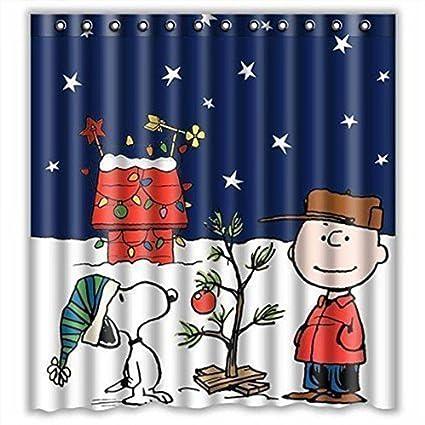 Clearance Christmas Shower Curtain 66x72inch Decorations Printed Waterproof CurtainBathroom
