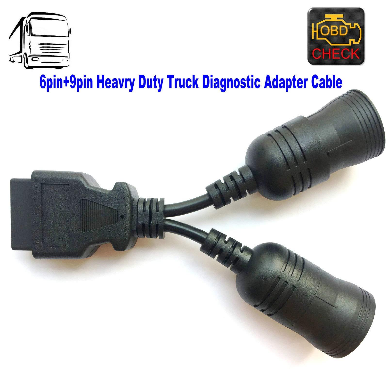 OTKEFDI OBD 6Pin+9Pin J1708+J1939 Cable,Heavy Duty Diesel