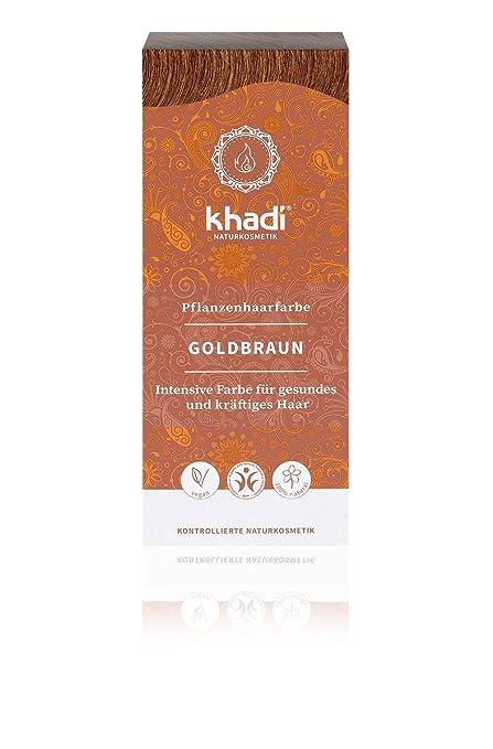 KHADI - Tinta Vegetale in Polvere Castano Dorato - 100% Naturale - Per  tutti i tipi di capelli - Rinforzante e Nutriente - Certificato BDIH -  Vegan - ... 48f4fb57256a