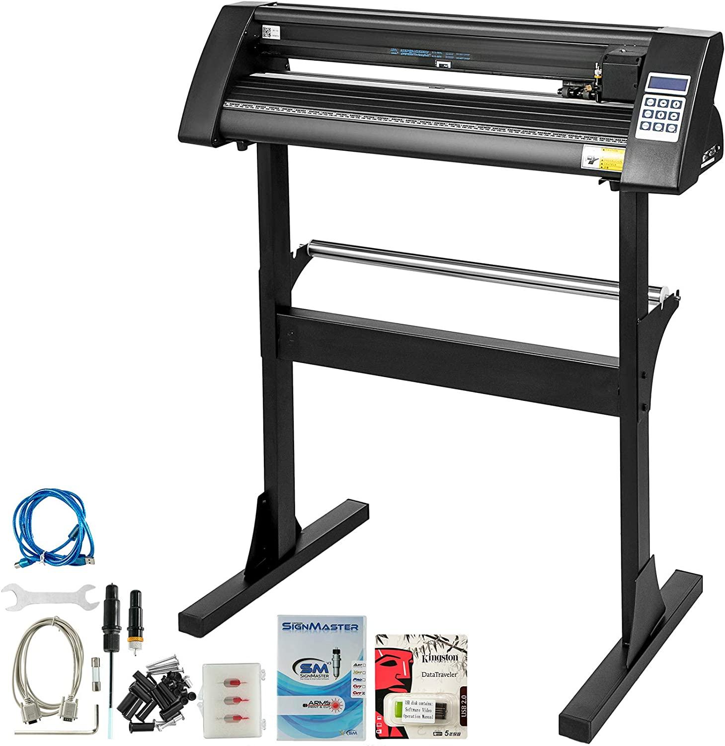 VEVOR Vinyl Cutter 28 Inch Vinyl Cutter Machine 720mm Paper Feed Vinyl Plotter Cutter Machine with Sturdy Floor Stand Vinyl Cutter Plotter Machine for Cutting Paper(Black)