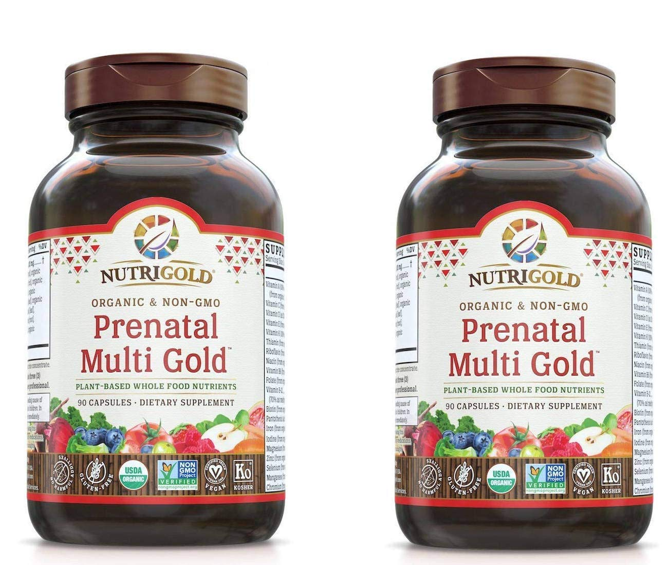Nutrigold Prenatal Multi Gold Plant-Based Whole Food Nutrients (90 Vegan Capsules) Pack of 2