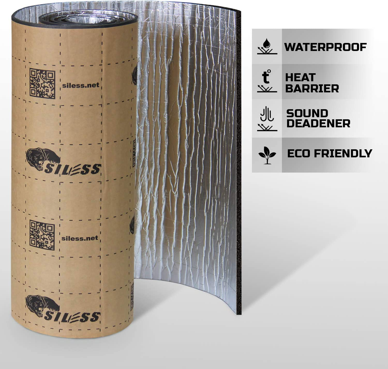 157 mil 15 sqft Siless Liner 157 mil Aluminum Foil Finish Car Sound Deadening /& Heat Insulation Closed Cell Foam PE Foam Sound Deadener