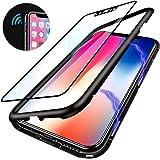 Elewelt iPhone X Hülle,Magnetische Adsorption Handyhülle mit Eingebauter Magnet Funktion, Ultra Dünn Tempered Glass Back Cover Case für Apple iPhone X (Transparente Rückseite,Schwarze Bumper)