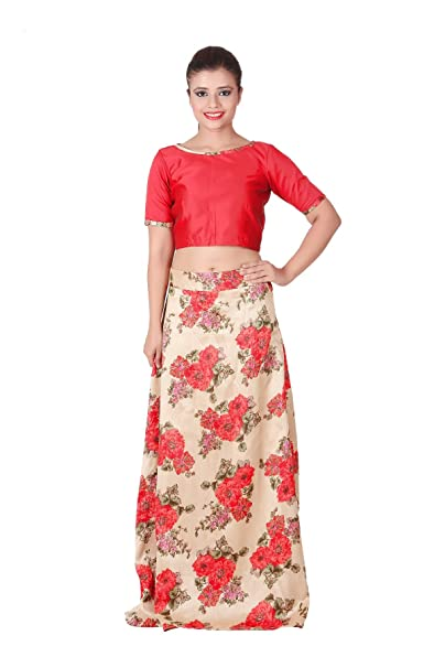800cfae8f31 Outdazzle Designer Raw Silk Crop Top with A-Line Printed Skirt - Red:  Amazon.in: Clothing & Accessories