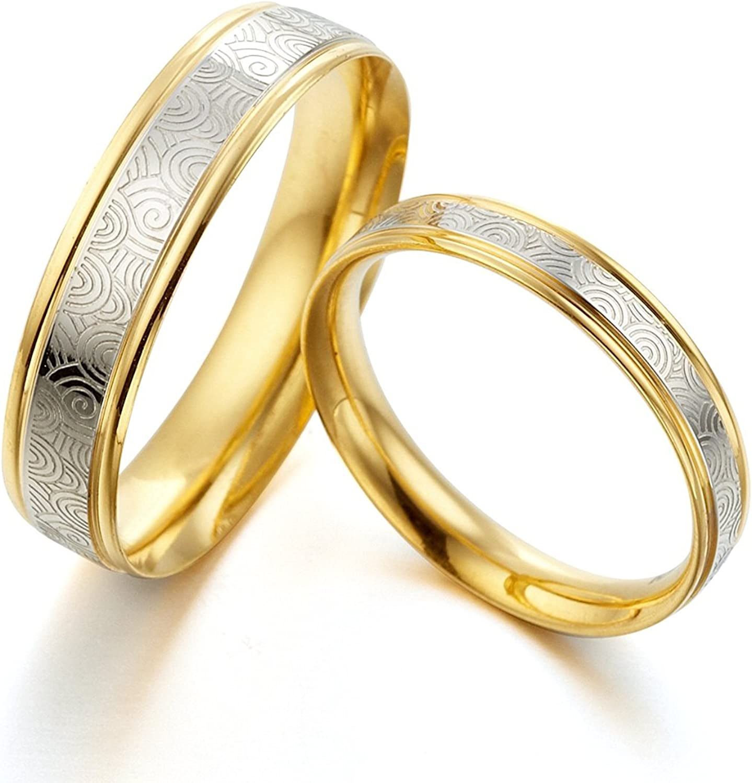 5.5 Gemini Groom /& Bride Two Tone Rose Gold /& Silver Brush /& Polish Titanium Wedding Ring Set Width 7mm /& 5mm Men Ring Size 10.5 Women Ring Size