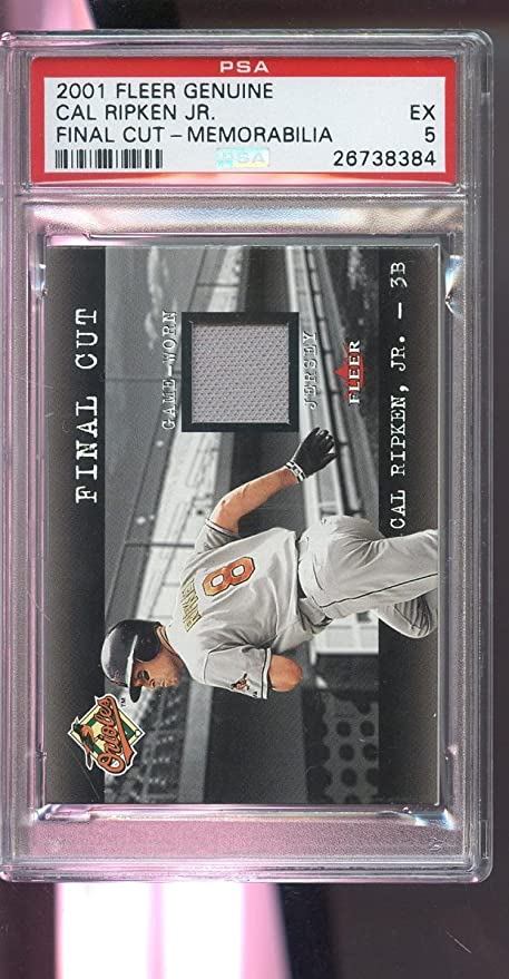 0584605f3 2001 Fleer Genuine Final Cut Cal Ripken Jr. Game-Used Jersey Card 5 Worn