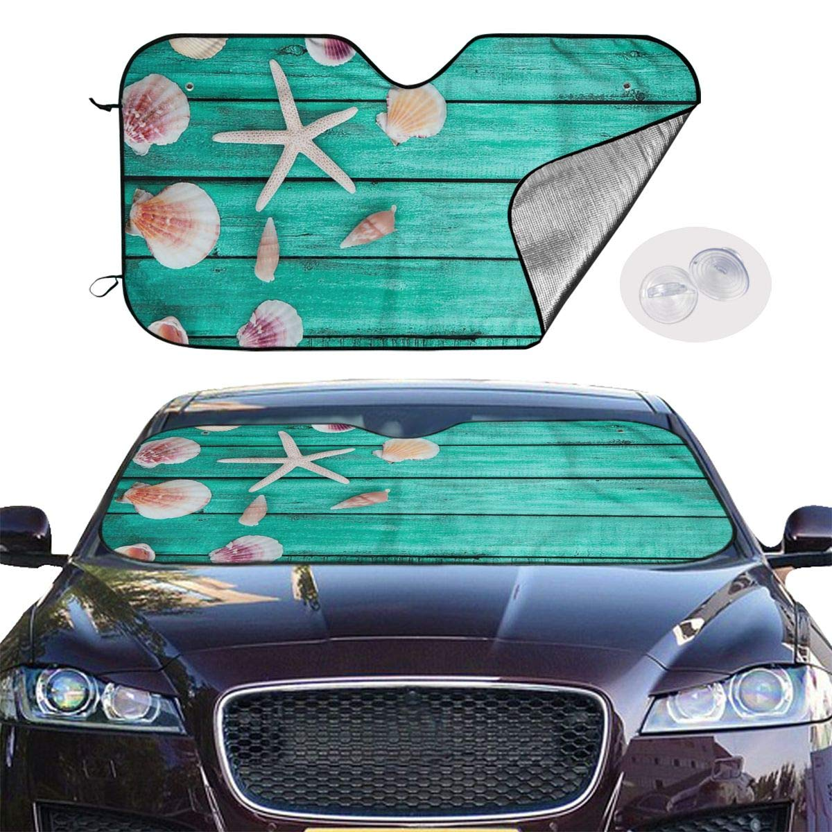 Windshield Sunshade for Car Foldable UV Ray Reflector Auto Front Window Sun Shade Visor Shield Cover, Keeps Vehicle Cool, Sea Shells by Sha-de