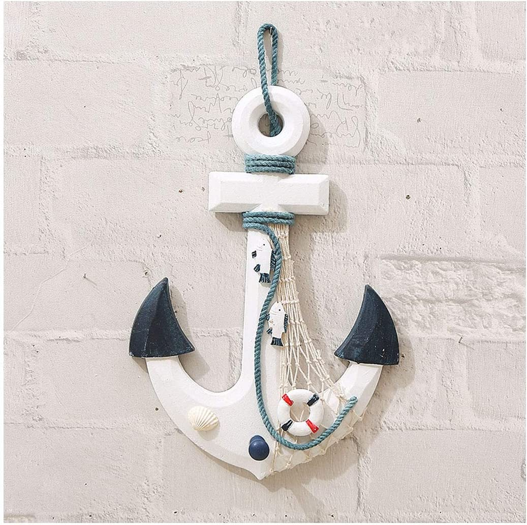 """Nautical Mediterranean Handcrafted Ship Anchor Pirate Decor- Ships Wheel for Home,and Wall Hanging Decorative Boat Accessory for Bedroom/Bathroom/Guest Room(Blue and White,8.7"""" X 12.6"""")"""