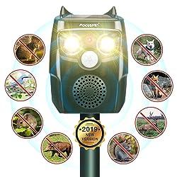 Focuspet Répulsif Chat Ultrason Solaire, Repulsif Chat Exterieur IP67 Imperméable,2 LED Lumière Flash,avec 3 Mode Réglable Protecteur de Jardin Répulsif Animaux Chats, Chiens, Parasites, Cerfs