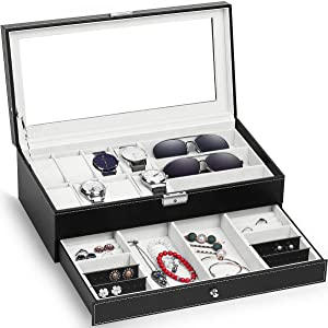 TomCare Upgraded Watch Box Watch Case Watch Organizer HolderJewelry Case Drawer Sunglasses Display Box Storage Earrings Organizer Lockable with Glass Top and PU Leather for Men Women, Black&Beige