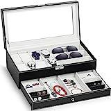 TomCare Upgraded Watch Box Watch Case Watch Organizer Holder Jewelry Case Drawer Sunglasses Display Box Storage Earrings…