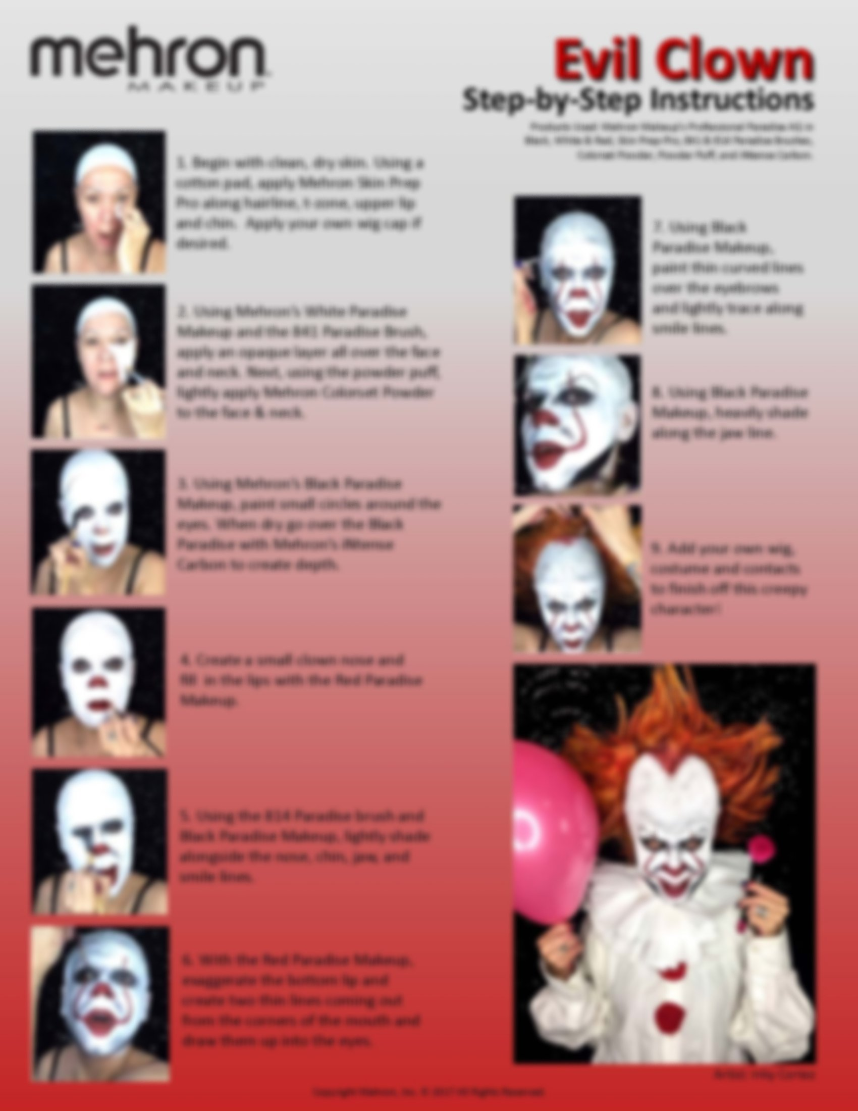 Evil Clown Halloween Makeup Kit – Professional Costume Cosmetics for a Creepy IT Inspired Look – Dress Up Like Pennywise with Pro-Quality Paint and Brushes – by Mehron