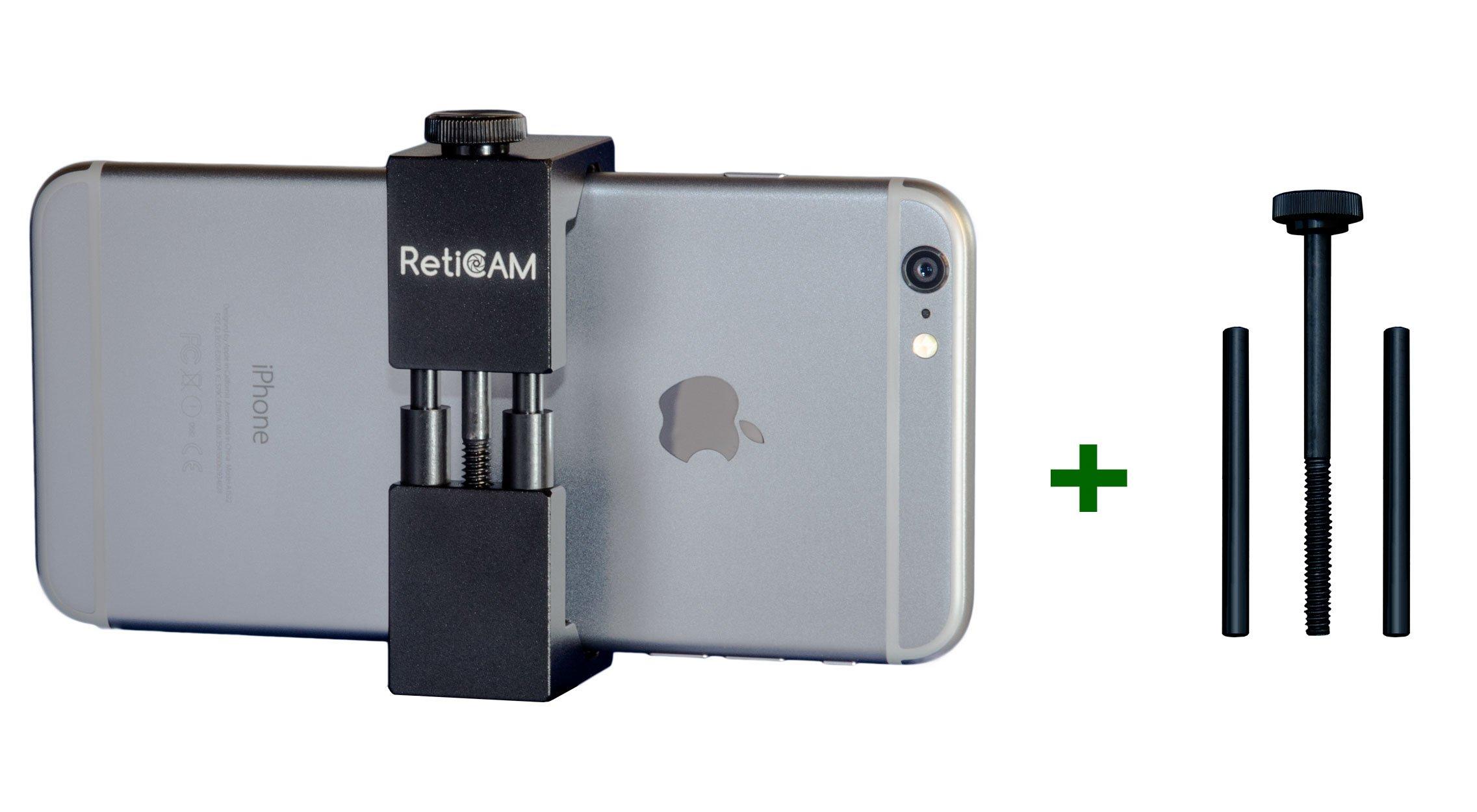 RetiCAM Smartphone Tripod Mount with XL Conversion Kit - Metal Universal Smart Phone Tripod Adapter - Standard Plus XL Conversion Kit