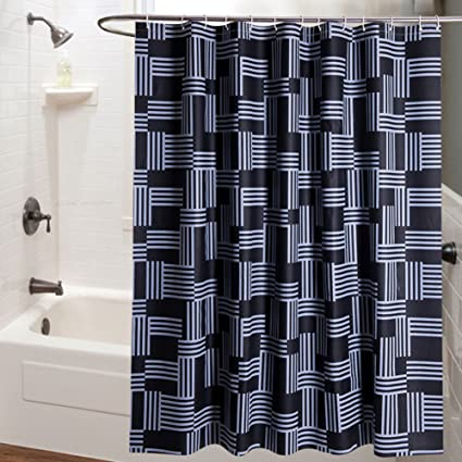 Amazon Black Striped Shower Curtainwaterproof Non Perforated