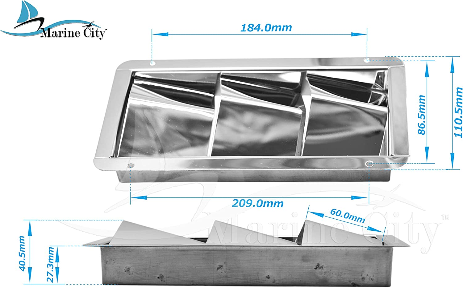 MARINE CITY Stainless Steel 3 Slots 8-1/4 Inches × 4-3/8 Inches × 4-3/8 Inches Louvered Vent for Boat