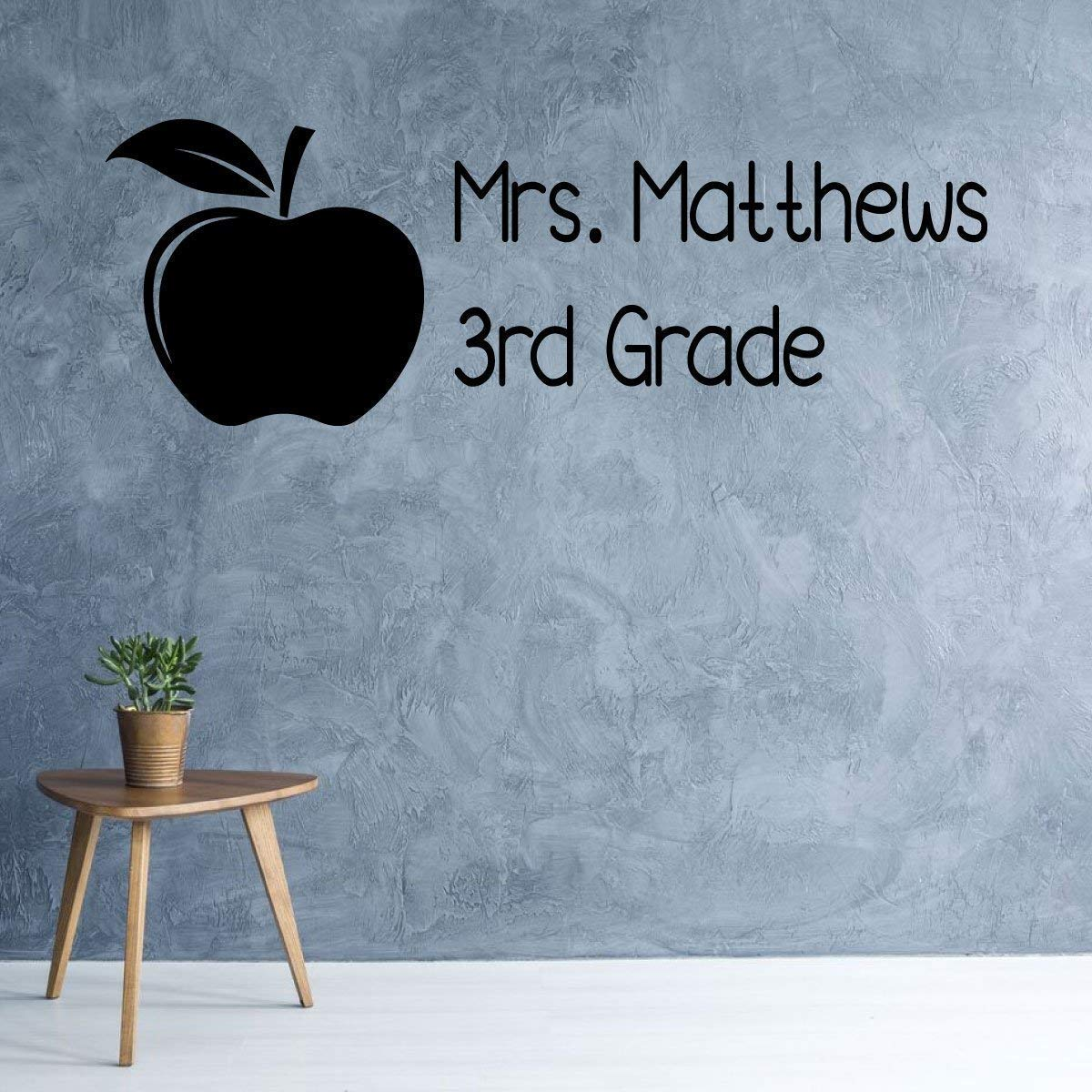 Personalized Name Teacher Decoration Gift | Customized Apple Silhouette Classroom Vinyl Wall Decal with Grade | Back to School Present | Black, White, Red, Purple, Other Colors | Small, Large Sizes