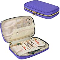Teamoy Jewelry Travel Case, Double Layer Quilted Jewelry Organizer Bag for Rings, Necklaces, Earrings, Bracelets and More