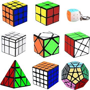 lunaoo Speed Cube Set Magic Cube 9 Piezas 2x2 3x3 4x4 Pyraminx Megaminx Mirror Skewb Fisher Mini Cubo Llavero, Cubo Magico Puzzle 3D Rompecabezas Regalos de Juguetes para Niños y Adultos: Amazon.es:
