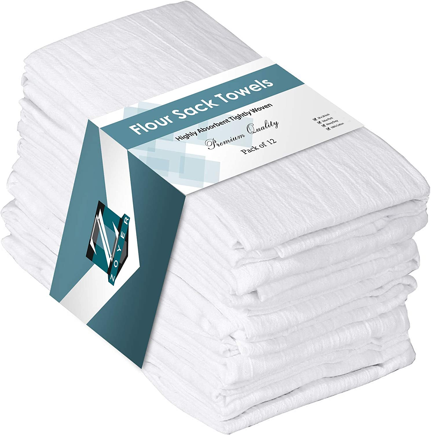 Pack of 12 Flour Sack Towels Cotton Absorbent 28 x 28 Inch Utopia Kitchen