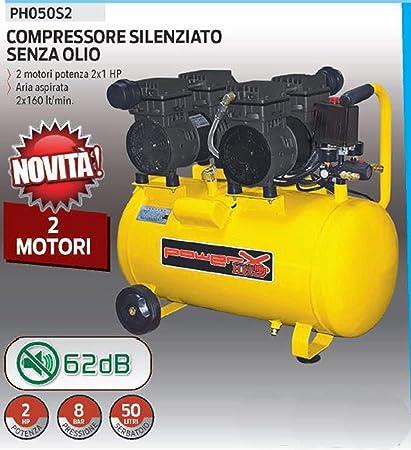 Compresor 50 LT silenciado en seco 2 motores Italy 8 Bar 1,5 HP ...