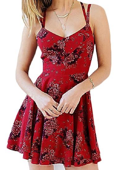 Vestidos De Fiesta para Bodas Verano Mujer Cortos Elegantes Impresión Floral Chiffon Vestido Una Línea Volantes Vintage Vestir De Tirantes Sin Mangas V ...