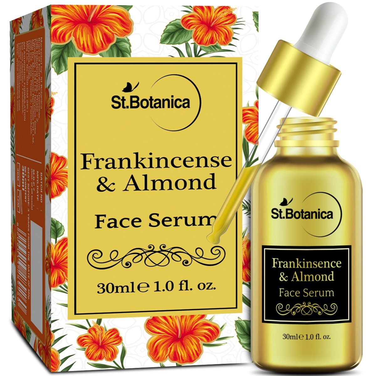 StBotanica Frankincense & Almond Face Serum - 30 ml - Anti Aging, Acne or Mature Skin product image