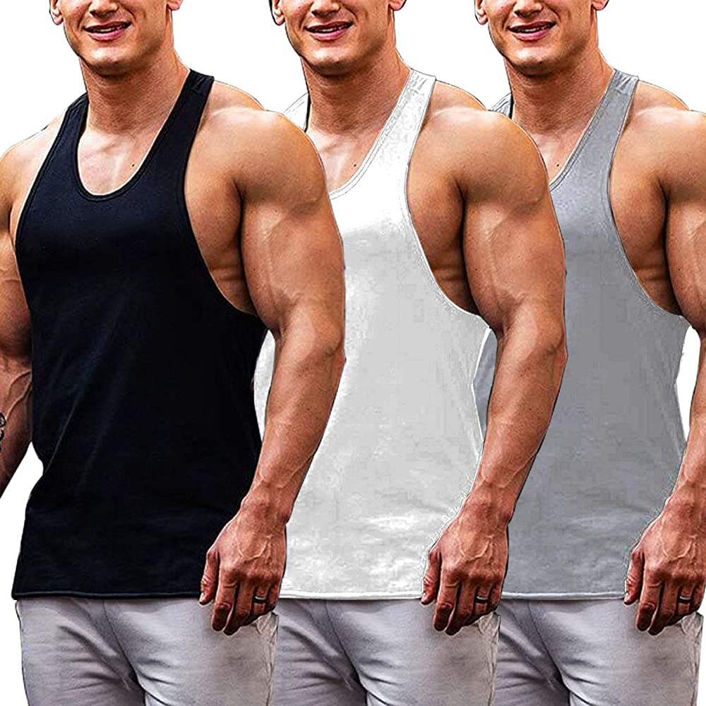 TAKIYA Mens Gym Stringer Tank Tops Bodybuilding Workout Fitness Muscle Vest Sleeveless Shirts