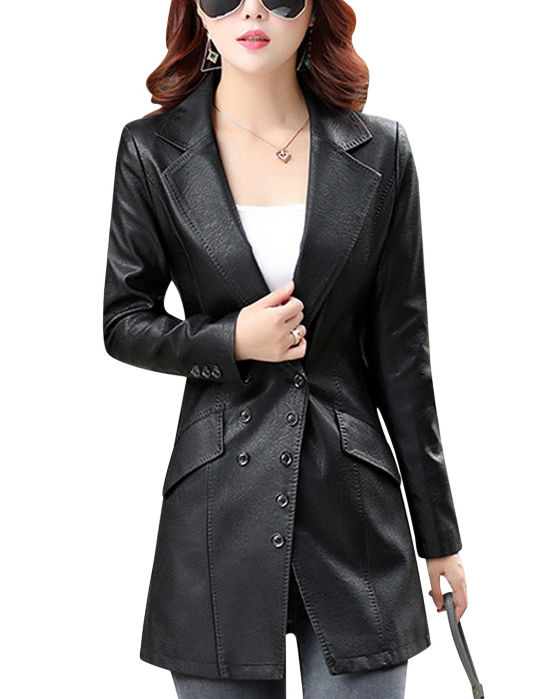 Tanming Women's Button Front Faux Leather Blazer Coat Jacket (X-Small, Black) by Tanming