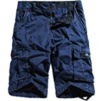 WenVen Men's Cargo Shorts Loose Fit Cotton Twill Summer Pants