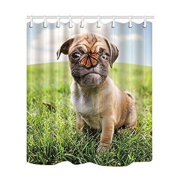 KOTOM Animal cortinas de ducha, un perro de perrito de Pug mezcla de Aute Chihuahua y ...