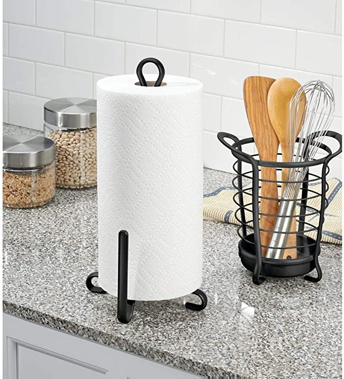 Matte Black MetroDecor 2819MDK Garage Storage Laundry//Utility Room Pantry mDesign Modern Metal Vertical Paper Towel Holder Stand and Dispenser Fits Standard and Jumbo-Sized Rolls for Kitchen Countertop