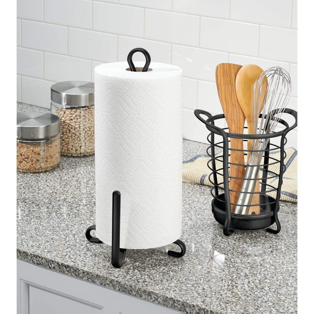 Garage Storage Laundry//Utility Room Pantry mDesign Modern Metal Vertical Paper Towel Holder Stand and Dispenser Matte Black MetroDecor 2819MDK Fits Standard and Jumbo-Sized Rolls for Kitchen Countertop