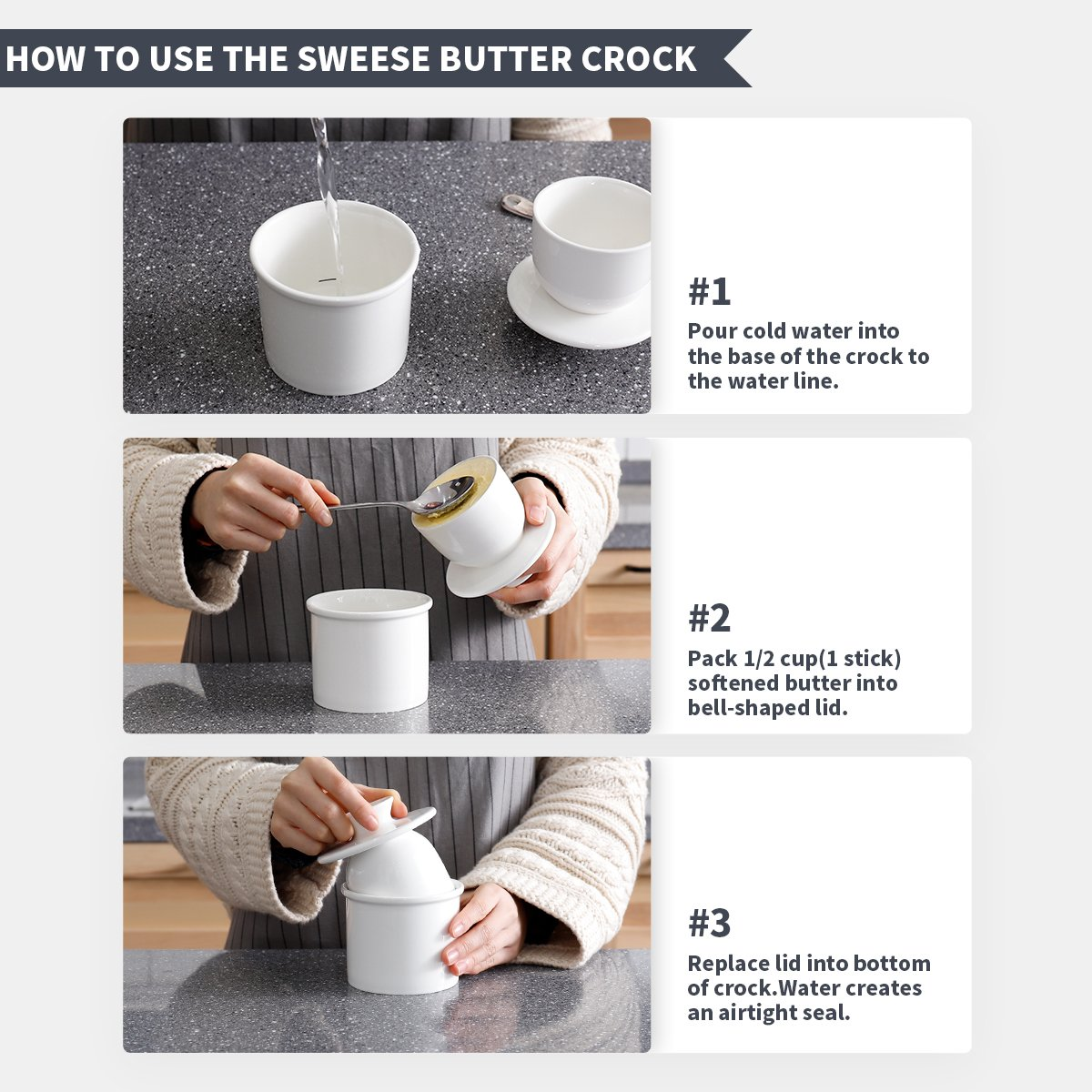 Sweese 305114 Porcelain Butter Keeper Crock  French Butter Dish  No More Hard Butter  Perfect