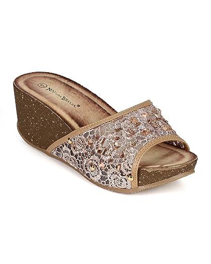 CC97 Women Leatherette Lace Open Toe Jewel Platform Heel Sandal - Camel