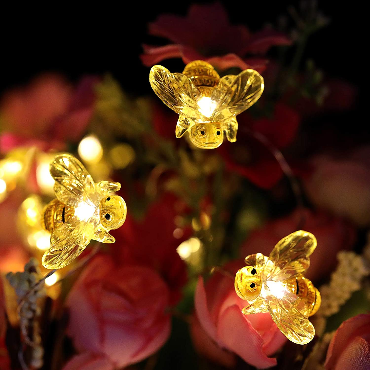 WSgift Honeybee Decorative String Lights Warm White, Remote Control with Timer 18.7 Ft 40 LED USB Plug-in Copper Wire Bee Fairy Lights for Various Decoration Projects
