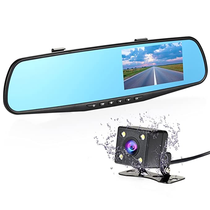 NEXGADGET Dual Lens Car Camera, Rear View Mirror Car: Amazon.co.uk ...