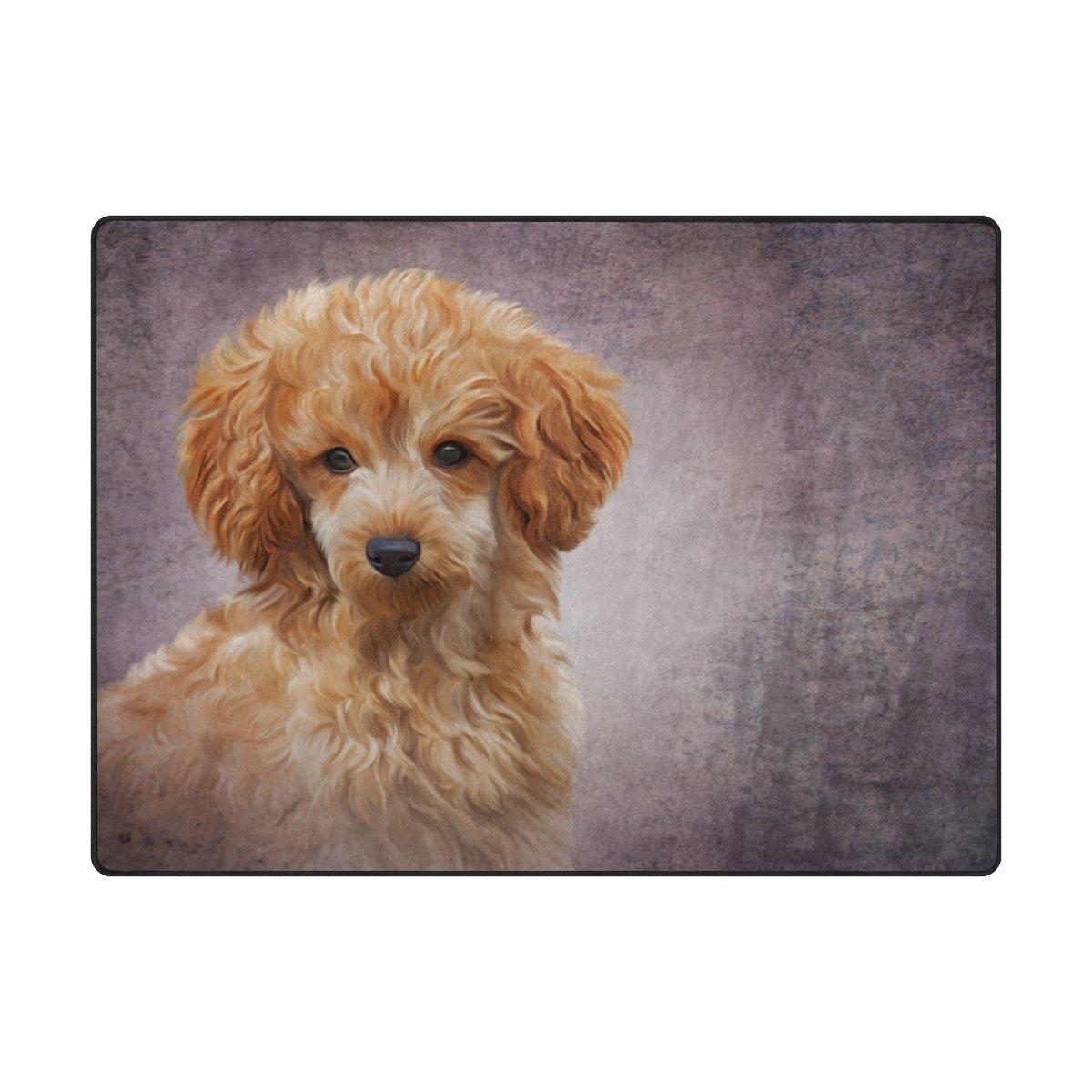 alaza Spielzeug-Pudel-Welpen-Hundeweinlese-Bereich Teppich 4' x 5'3', Wohnzimmer Schlafzimmer Küche Dekorative