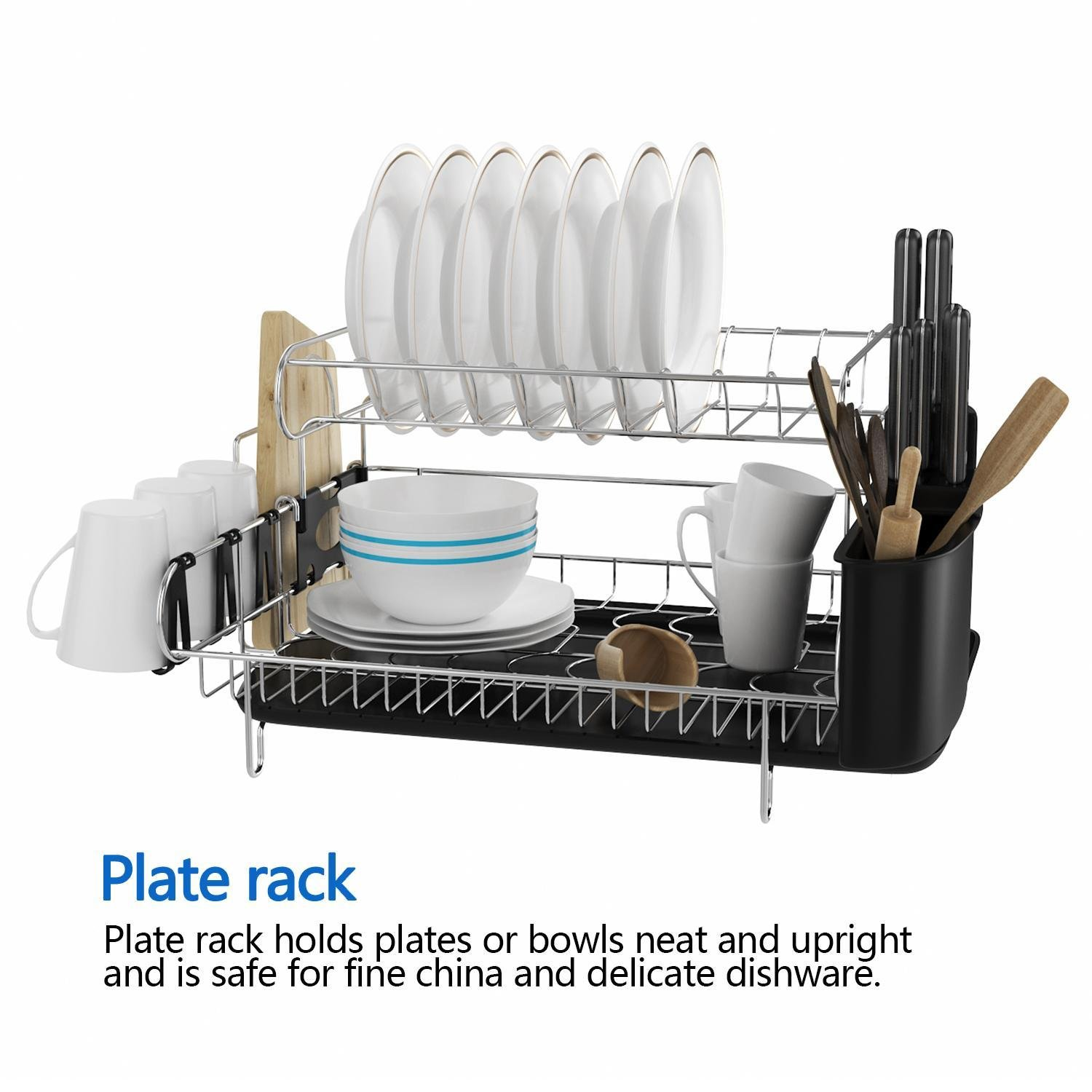 Mewalker 2 Tier Dish Drying Rack 304 Stainless Steel Professional Dish Rack with Microfiber Mat Drain Board and Cutlery Holder, Black by Mewalker (Image #2)