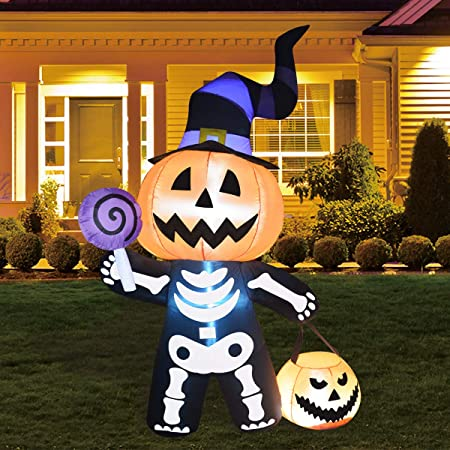 6FT Halloween INFLATABLES Ghost with Pumpkin Head Halloween Inflatable Pumpkin Ghost with Pumpkin Yard Decoration, Indoor Outdoor Garden Halloween Decoration